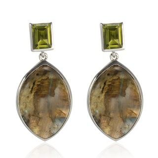 Sterling Silver 1.5-inch 25x17mm Labradorite and Peridot Earrings