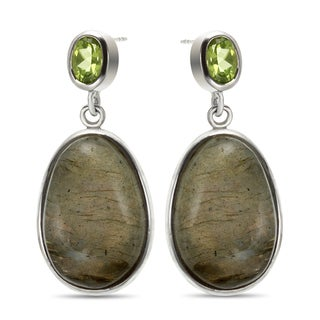 Sterling Silver 1.5-inch 22x15mm Oval Labradorite and Peridot Earrings