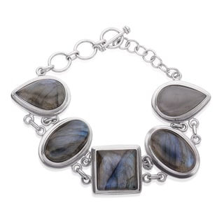 Sterling Silver Multi Shape Labradorite Toggle Bracelet
