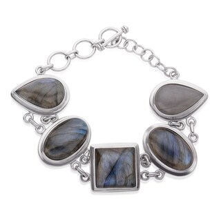 Sterling Silver Multi Shape Labradorite Toggle Bracelet