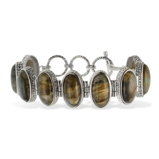 Sterling Silver 19x10mm Oval Labradorite Toggle Bracelet
