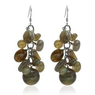 Sterling Silver 2-inch Labradorite Multi Shaped Gemstone Cluster Drop Earrings