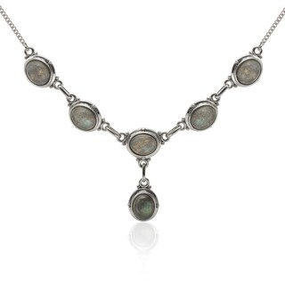 Sterling Silver 10x8mm Labradorite Drop Necklace