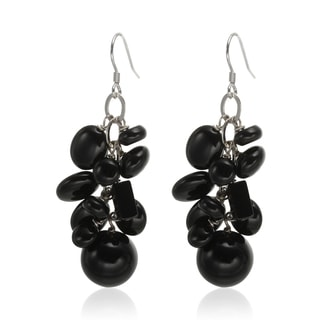Sterling Silver 2-inch Black Agate Multi Shaped Gemstone Cluster Drop Earrings