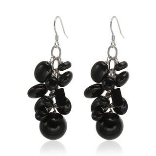 Sterling Silver 2-inch Black Agate Multi Shaped Gemstone Cluster Drop Earrings