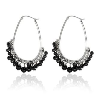 Sterling Silver 2-inch Round Black Spinel Gemstone Bead Dangle Hoop Earrings