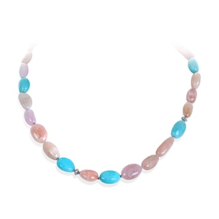 Sterling Silver Morganite, Amazonite and Pink Quartz Necklace
