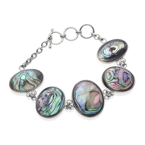 Sterling Silver Grey Mother of Pearl and Abalone Reversible Toggle Bracelet - Multi