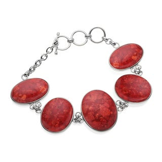 Sterling Silver Coral and Carnelian Reversible Toggle Bracelet