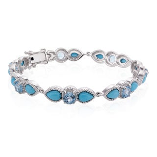 Sterling Silver Sleeping Beauty Turquoise and Swiss Blue Topaz Line Bracelet