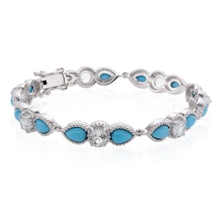 Sterling Silver Sleeping Beauty Turquoise and White Topaz Line Bracelet