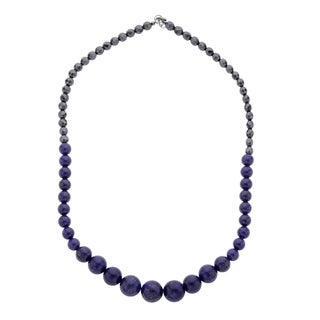 Sterling Silver 20-inch Round Lapis and Hematite Bead Necklace