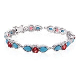 Sterling Silver Sleeping Beauty Turquoise and Garnet Line Bracelet
