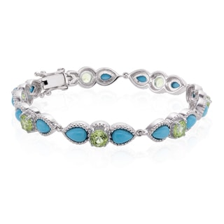 Sterling Silver Sleeping Beauty Turquoise and Peridot Line Bracelet