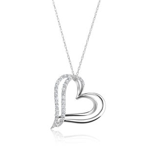 SummerRose 14k White Gold 1/3ct TDW Diamond Heart Pendant (H-I, SI1-SI2)