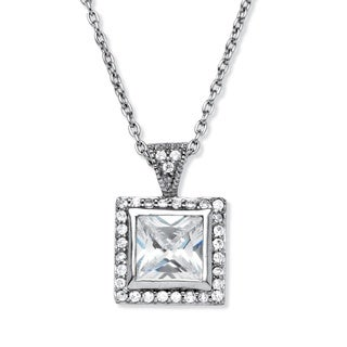 Palm Beach Platinum over Silver Cubic Zirconia Pendant Necklace