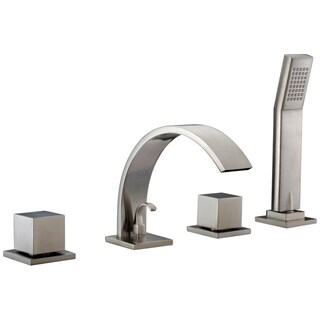 Dawn 4-hole Tub Filler with Personal Handshower, Square Handles and Sheetflow Spout