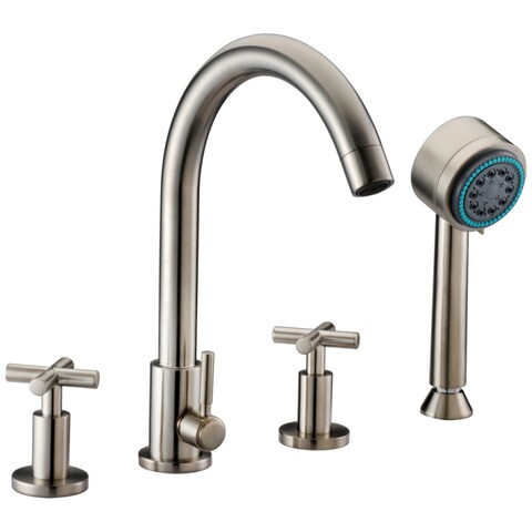 Dawn 4-hole Tub Filler with Personal Handshower and Cross Handles