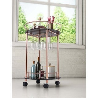 Plato Glass and Steel Serving Cart in Gold or Chrome
