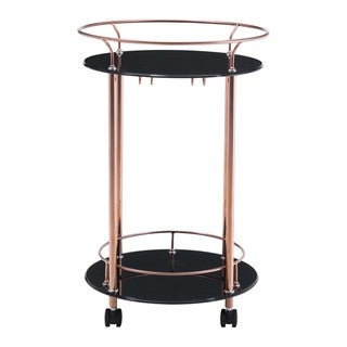 Plato Glass and Steel Serving Cart