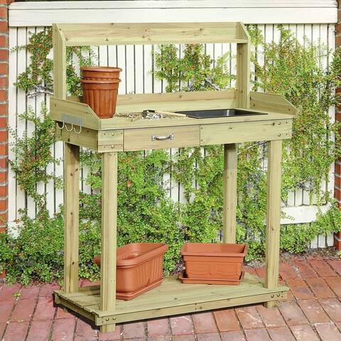 Sunjoy Wooden Potting Bench