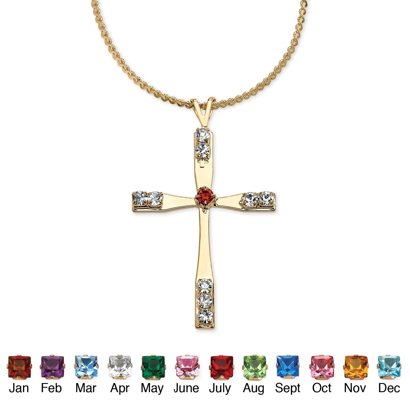 Palm Beach Birthstone Cross Pendant Necklace in Yellow Go...
