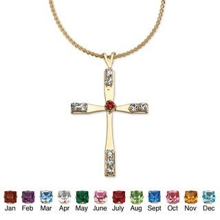 PalmBeach Birthstone Cross Pendant Necklace in Yellow Gold Tone Color Fun