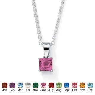 "Simulated Princess-Cut Birthstone Sterling Silver Pendant Necklace 18"" Color Fun"