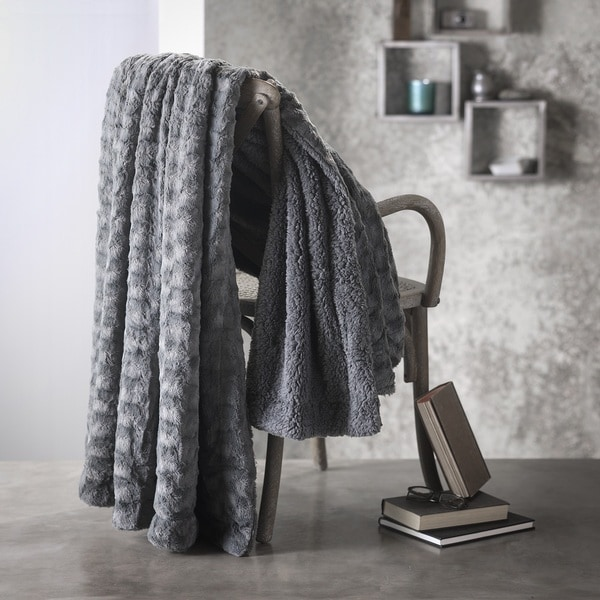 Nadia Lux Super Soft Reversible Sherpa Faux Fur Throw