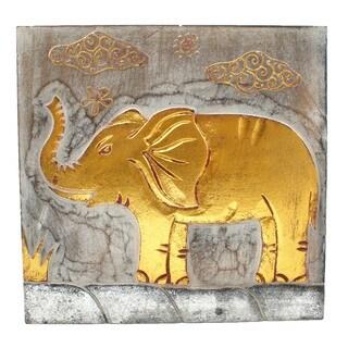 Handmade Wood Wall Panel Elephant White Wash (Indonesia)
