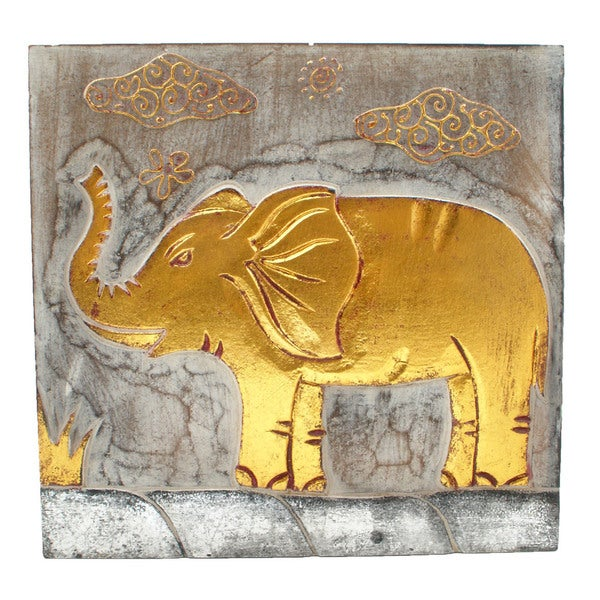 Handmade Wood Wall Panel Elephant White Wash (Indonesia)