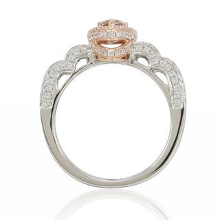 Suzy Levian 14K White Rose Brown Diamond Ring