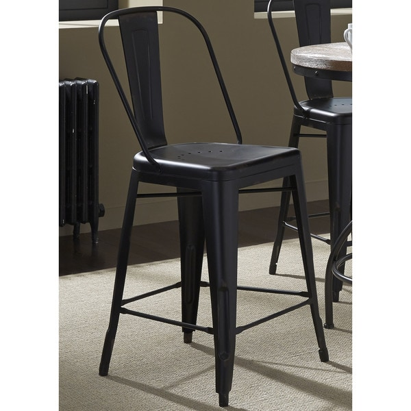 Heavy Distressed Metal Bow Back Barstool Free Shipping