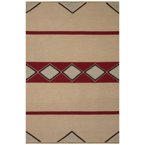 Safavieh One of a Kind Collection Hand-Knotted Tibetan Black/ Red Wool Rug (6' x 9') - 6' x 9'