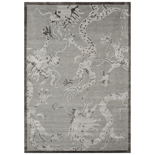 Safavieh One of a Kind Collection Hand-Knotted Indo-Nepali Silver Banana Silk (6' x 9')