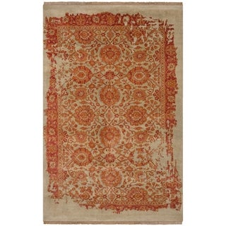 Safavieh One of a Kind Collection Hand-Knotted Dream Beige/ Orange Wool & Silk Rug(6' x 9')