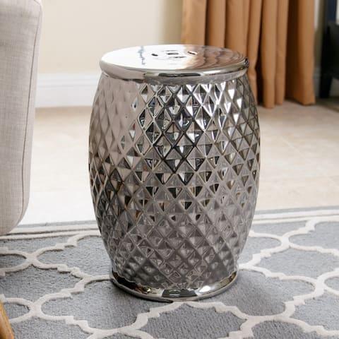 Abbyson Marina Tufted Silver Chrome Ceramic Garden Stool