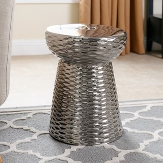 Abbyson Madison Silver Chrome Ceramic Garden Stool