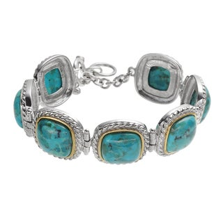 Sterling Silver Two Tone 12mm Turquoise Framed Adjustable Toggle Bracelet
