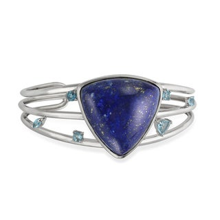Sterling Silver 30mm Triangle Shaped Lapis and Swiss Blue Topaz Cuff Bracelet