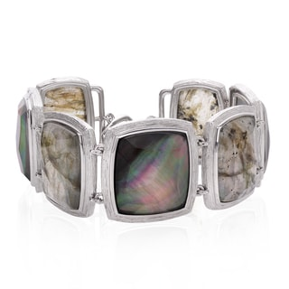 Sterling Silver 6.5-inch Rectangle Labradorite and Quartz Double Toggle Bracelet