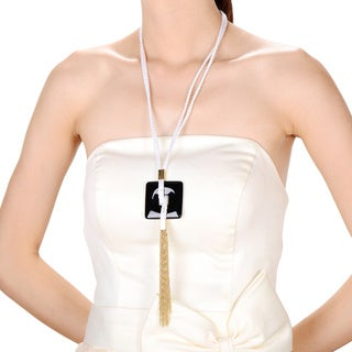 White/ Goldtone Square Tassel Fashion Necklace