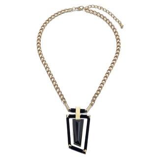 Alberto Moore Alberto Moore Goldtone and Black Asymmetrical Pendant Necklace