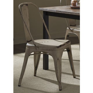 Heavy Distressed Metal Bow Back Side Chair