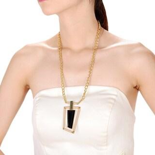 Alberto Moore Alberto Moore Goldtone and Kaki Asymmetrical Pendant Necklace
