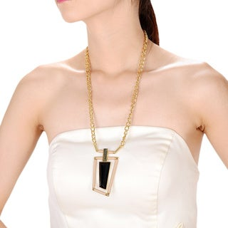 Alberto Moore Alberto Moore Goldtone and Kaki Asymmetrical Pendant Necklace