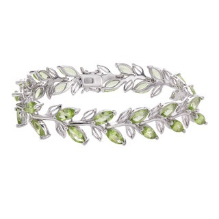 Sterling Silver 15.40ct Marquise Peridot Leaf Line Bracelet