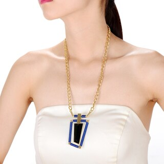 Alberto Moore Alberto Moore Fashion Jewelry Blue and Goldtone Asymmetrical Pendant Necklace