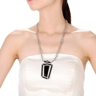 Alberto Moore Alberto Moore Fashion Jewelry Silvertone and Black Asymmetrical Pendant Necklace