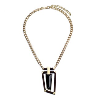 Alberto Moore Brown/ Goldtone Asymmetrical Fashion Pendant Necklace